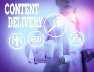 Word writing text Content Delivery. Business photo showcasing geographically distributed network of proxy servers
