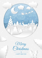Christmas winter scene with houses and trees card. Merry christmas and happy new year. Santa claus sleigh in the night sky with stars. Vector paper and crafts art