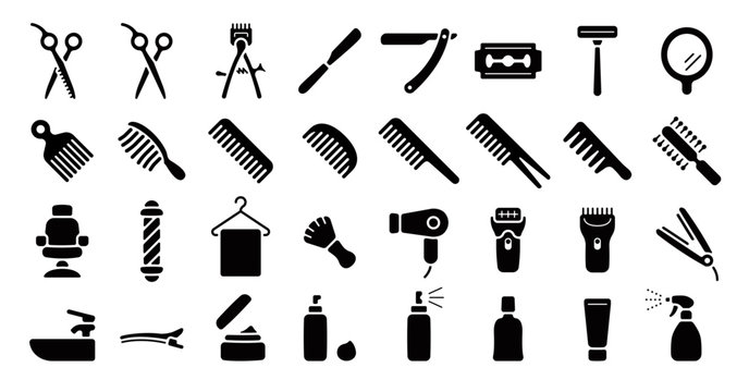 Barber Shop Icon Set (Flat Silhouette Version)
