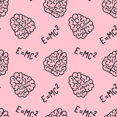 Vector creative seamless pattern with human brain and Einstein's formula on pink background.