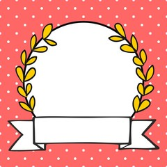 Hand drawn vector Laurel wreath photo frame with white polka dots on a pastel pink background