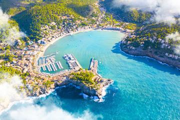 Foto auf AluDibond Südeuropa Beautiful harbour of Port de Soller, Majorca, Balearic Islands, Spain