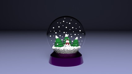 crystal ball in the snow