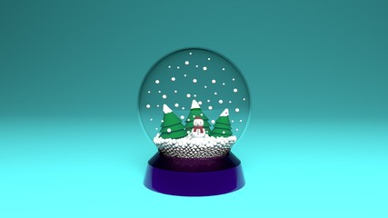 snow globe isolated on green backgroung