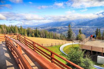 ZAKOPANE, POLAND - NOVEMBER 06, 2019: View of the city of Zakopane from Gubalowka, Poland, Europe. Gubalowka mountain is a popular tourist attraction, offering views of the Tatras and Zakopane. Fototapete
