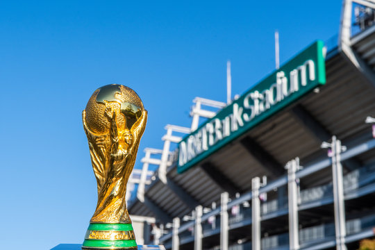 USA, BALTIMORE, OCTOBER 2019: World Cup FIFA on background M&T Bank Stadium in Baltimore state of Maryland