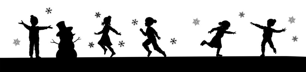A scene of children in silhouette playing in Christmas or winter cold weather clothing making snowman, ice skating and running in the snow