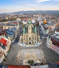 Liberec, Czechia. Aerial view of central square and building of historic Town Hall