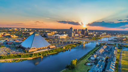 Memphis, Tennessee, USA Downtown Skyline Aerial