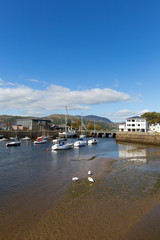 Fototapete - Porthmadog Wales Welsh coastal town east of Criccieth near Snowdonia National Park with boats in the harbour in beautiful weather