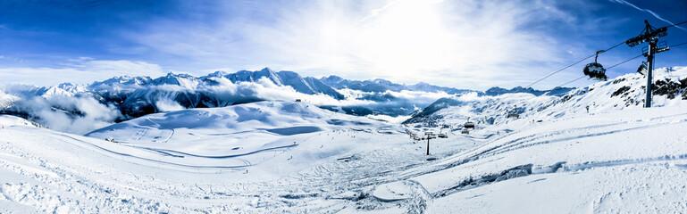 panoramic picture of bettmeralp ski area