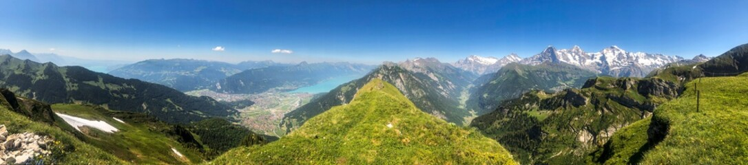hiking trail panorama in the swiss mountains in interlaken, switzerland