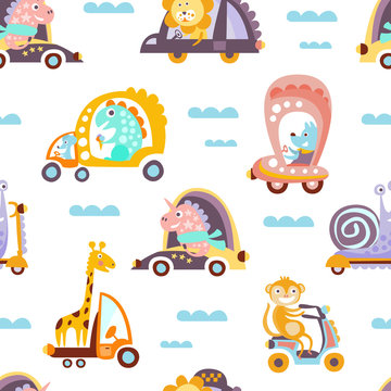 Funny artoon Animals Driving Different Vehicles Seamless Vector Pattern
