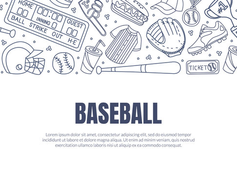Hand Drawn Baseball Symbols Used in Vector Card Template