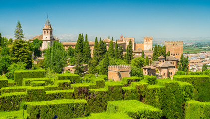 Panoramic sight with the Alhambra Palace as seen from the Generalife in Granada. Andalusia, Spain.