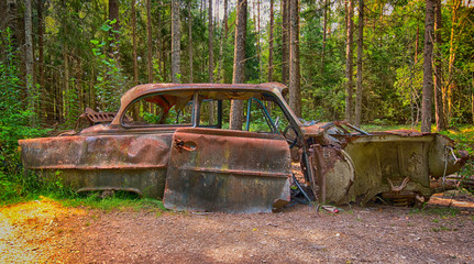 Old car in forest