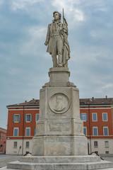 Sculpture of Italian patriot Ciro Menotti in Modena, Italy