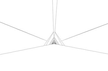 long corridor with doors, contour visualization, 3D illustration, sketch, outline