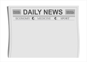 Mock up of a blank Daily Newspaper with empty space to add your own news or headline text and pictures. Flat design style.