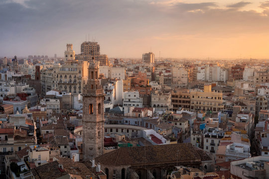 Beautiful aerial view of Valencia at the sunset, Spain