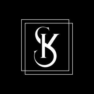 SK letter logo, sk, sk logo. SK icon design on black background.