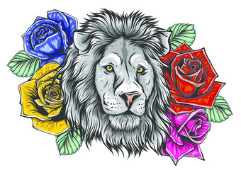 The head of a lion in a flower ornament vector