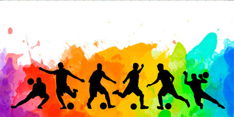 Football soccer player silhouette colorful background illustration sport people poster card banner design