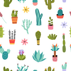 Aluminium Prints Plants in pots Cacti seamless pattern. Vector background with colorful succulents and cactus. Botanical theme graphic repeat design
