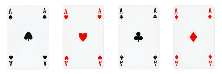 Four Aces Playing Cards - isolated on white
