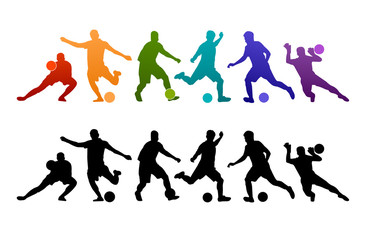 Football soccer player vector illustration silhouette colorful background sport people poster card banner design