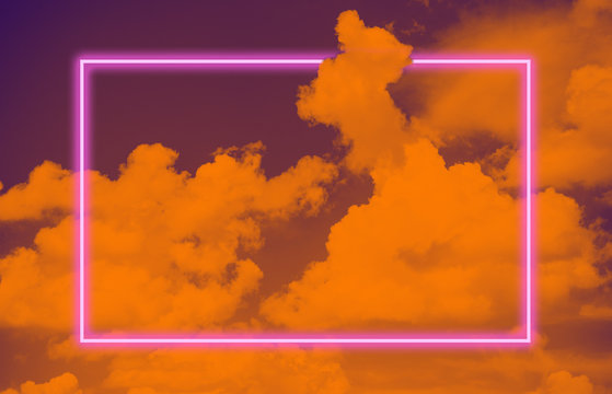 Vibrant sky layout and pink neon glowing frame. Vaporwave retro pattern for design.