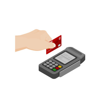 hand with a smart card that is swiped contactless payment concept design vector