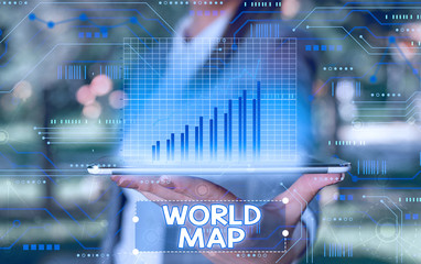 Word writing text World Map. Business photo showcasing a diagrammatic representation of the surface of the earth