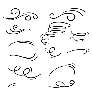 Wind icons nature, wave flowing illustration with hand drawn doodle cartoon style isolated on white background