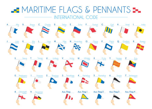 Maritime Flags and pennants International Code Vector Illustration
