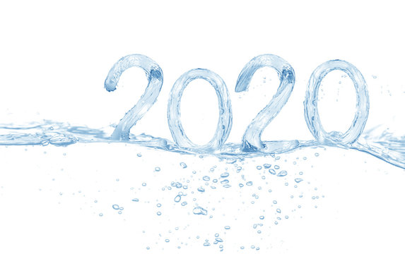 2020, Happy New Year 2019 water splash isolated on white background, water
