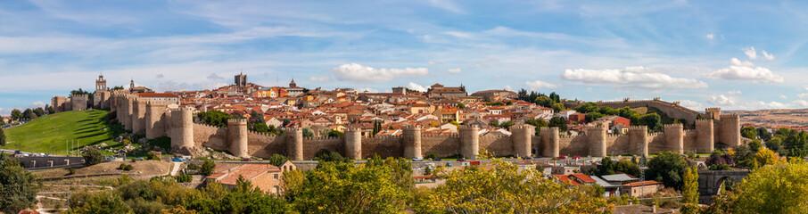 Panorama view of Muralla de Ávilaan Imposing 2.5km-long walls surrounding the old city of Avila, Spain. Wall mural