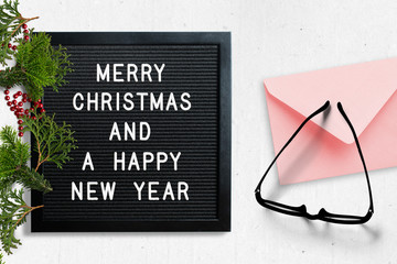 Letter board with merry christmas message