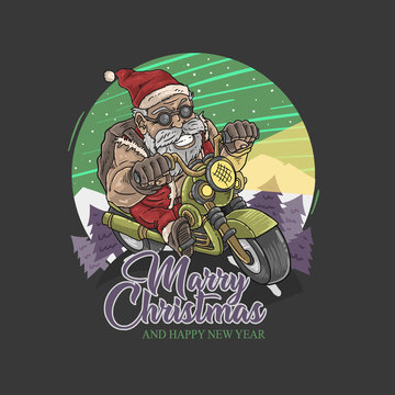santa claus biker touring illustration vector