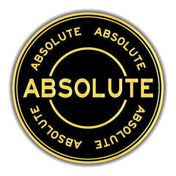 Gold color absolute word round sticker on white background