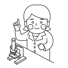 白衣女性顕微鏡