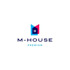m house logo vector icon illustration in overlapping style