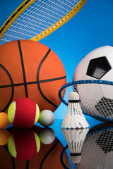 Wall Mural - Group of sports equipment, Winner background
