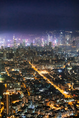 Fotomurales - Famous Urban Night scenic of Kowloon Downtown, Hong Kong