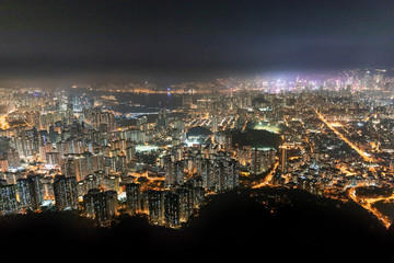 Fototapete - Famous Urban Night scenic of Kowloon Downtown, Hong Kong