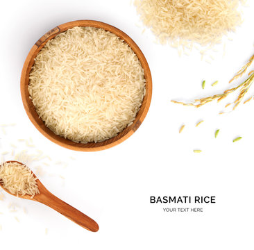 Creative layout made of basmati rice on white background. Flat lay. Food concept. Macro concept.
