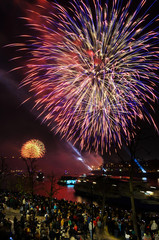 Moscow, RUSSIA-May 10, 2015: Bright colorful fireworks on the night sky background over the river in Moscow