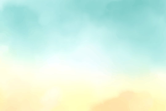 beautiful cotton candy morning or twilight sky watercolor background