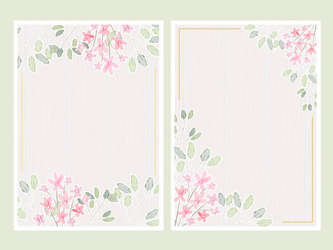 watercolor botanical hand drawing leafs with tiny pink on white wood background flowers wedding invitation card template 5x7 collection