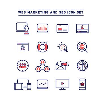 WEB MARKETING AND SEO ICON SET
